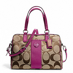 COACH SIGNATURE STRIPE SATCHEL - SILVER/KHAKI/PASSION BERRY - F24364
