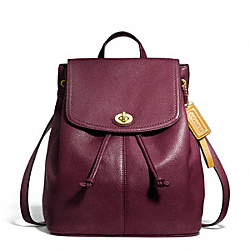 PARK LEATHER BACKPACK - f24385 - BRASS/BURGUNDY