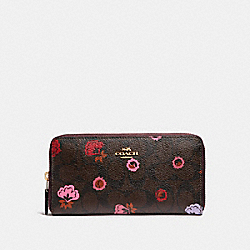 COACH ACCORDION ZIP WALLET WITH PRIMROSE FLORAL SIGNATURE PRINT - IMBMC - F24398