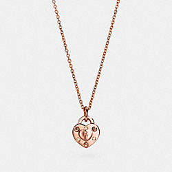 MINI DEMI-FINE PADLOCK HEART NECKLACE - f24400 - ROSEGOLD