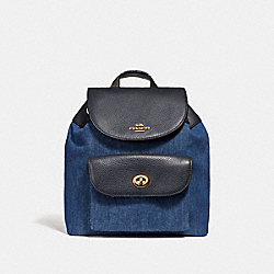 MINI BILLIE BACKPACK - DENIM MULTI/LIGHT GOLD - COACH F24598