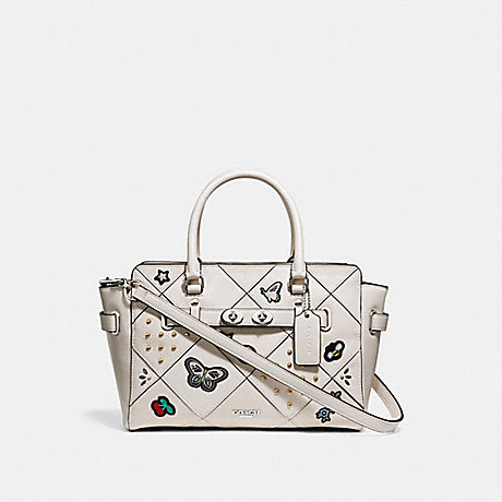 COACH f24600 BLAKE CARRYALL 25 WITH SOUVENIR EMBROIDERY PATCHWORK SILVER/CHALK