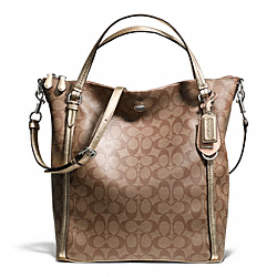 COACH PEYTON SIGNATURE CONVERTIBLE SHOULDER BAG - SILVER/KHAKI/GOLD - F24601
