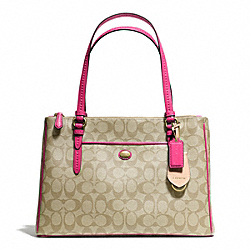 COACH PEYTON JORDAN DOUBLE ZIP CARRYALL IN SIGNATURE FABRIC - BRASS/LT KHAKI/POMEGRANATE - F24603