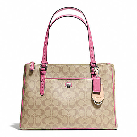 COACH f24603 PEYTON SIGNATURE JORDAN DOUBLE ZIP CARRYALL SILVER/LT KHAKI/STRAWBERRY