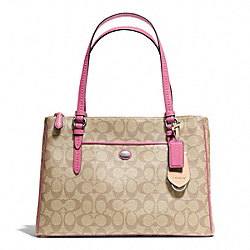 COACH PEYTON SIGNATURE JORDAN DOUBLE ZIP CARRYALL - SILVER/LT KHAKI/STRAWBERRY - F24603