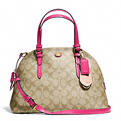 PEYTON SIGNATURE CORA DOMED SATCHEL - f24606 - BRASS/LT KHAKI/POMEGRANATE