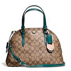 COACH PEYTON SIGNATURE CORA DOMED SATCHEL - BRASS/KHAKI/JADE - F24606