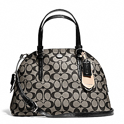 COACH PEYTON SIGNATURE CORA DOMED SATCHEL - SILVER/BLACK/WHITE/BLACK - F24606