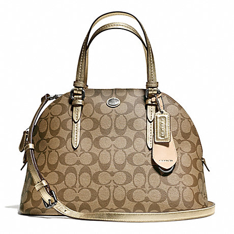 COACH f24606 PEYTON SIGNATURE CORA DOMED SATCHEL SILVER/KHAKI/GOLD
