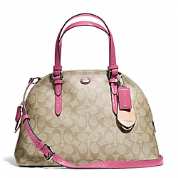 COACH PEYTON SIGNATURE CORA DOMED SATCHEL - SILVER/LT KHAKI/STRAWBERRY - F24606
