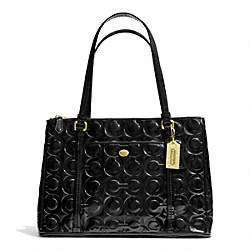 COACH PEYTON OP ART EMBOSSED PATENT JORDAN DOUBLE ZIP CARRYALL - BRASS/BLACK - F24607