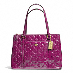 COACH PEYTON OP ART EMBOSSED PATENT JORDAN DOUBLE ZIP CARRYALL - BRASS/PASSION BERRY - F24607