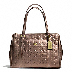 COACH PEYTON OP ART EMBOSSED PATENT JORDAN DOUBLE ZIP CARRYALL - BRASS/BRONZE - F24607