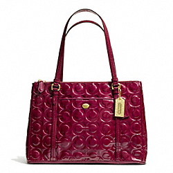 COACH PEYTON OP ART EMBOSSED PATENT JORDAN DOUBLE ZIP CARRYALL - BRASS/MERLOT - F24607