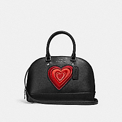 MINI SIERRA SATCHEL WITH HEART EMBROIDERY - SILVER/BLACK - COACH F24609