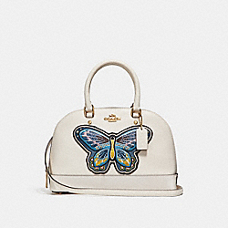 MINI SIERRA SATCHEL WITH BUTTERFLY EMBROIDERY - CHALK/LIGHT GOLD - COACH F24610