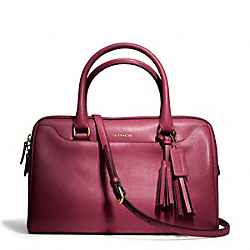 LEATHER HALEY SATCHEL WITH STRAP - BRASS/DEEP PORT - COACH F24622
