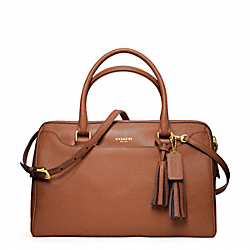 LEATHER HALEY SATCHEL WITH STRAP - BRASS/COGNAC - COACH F24622