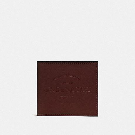 COACH DOUBLE BILLFOLD WALLET - DARK BROWN/BLACK ANTIQUE NICKEL - F24647
