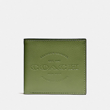COACH DOUBLE BILLFOLD WALLET - DARK OLIVE/BLACK ANTIQUE NICKEL - F24647