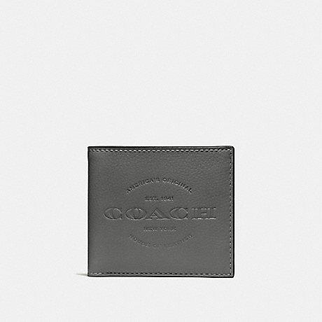 COACH DOUBLE BILLFOLD WALLET - HEATHER GREY/BLACK ANTIQUE NICKEL - F24647