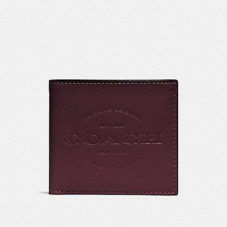 COACH DOUBLE BILLFOLD WALLET - OXBLOOD/BLACK ANTIQUE NICKEL - F24647