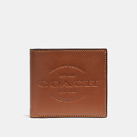 COACH DOUBLE BILLFOLD WALLET - SADDLE - F24647