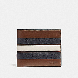 COACH 3-IN-1 WALLET WITH VARSITY STRIPE - SADDLE/MIDNIGHT NVY/CHALK - F24649