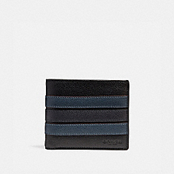 COACH 3-IN-1 WALLET WITH VARSITY STRIPE - BLACK/DENIM/MIDNIGHT NVY - F24649
