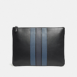 COACH LARGE POUCH WITH VARSITY STRIPE - BLACK/DENIM/MIDNIGHT NVY - F24658