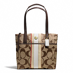COACH SIGNATURE STRIPE MULTI STRIPE TOTE - BRASS/KHAKI/VERMILLION MTI - F24666