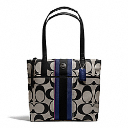 COACH SIGNATURE STRIPE MULTI STRIPE TOTE - SILVER/BLACK WHITE MULTI - F24666