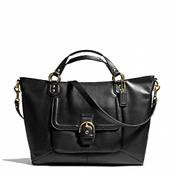 COACH CAMPBELL LEATHER IZZY FASHION SATCHEL - BRASS/BLACK - F24683
