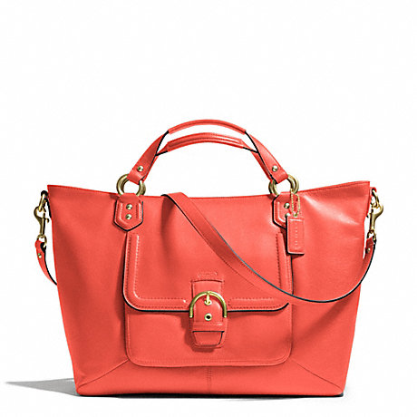 COACH f24683 CAMPBELL LEATHER IZZY FASHION SATCHEL BRASS/HOT ORANGE