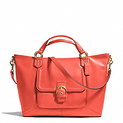 COACH CAMPBELL LEATHER IZZY FASHION SATCHEL - BRASS/HOT ORANGE - F24683
