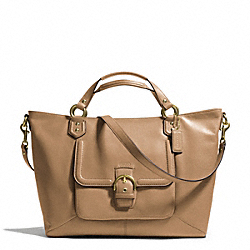 COACH CAMPBELL LEATHER IZZY FASHION SATCHEL - BRASS/CAMEL - F24683