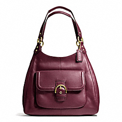 COACH CAMPBELL LEATHER HOBO - BRASS/BORDEAUX - F24686