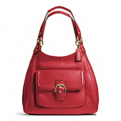 COACH CAMPBELL LEATHER HOBO - BRASS/CORAL RED - F24686
