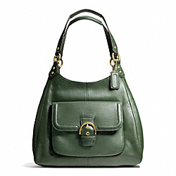 COACH CAMPBELL LEATHER HOBO - BRASS/RACING GREEN - F24686