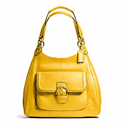 COACH CAMPBELL LEATHER HOBO - BRASS/SUNFLOWER - F24686
