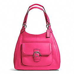 CAMPBELL LEATHER HOBO - SILVER/POMEGRANATE - COACH F24686