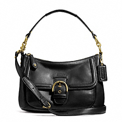 COACH CAMPBELL LEATHER SMALL CONVERTIBLE HOBO - BRASS/BLACK - F24687