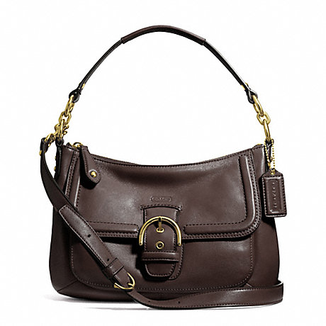 COACH f24687 CAMPBELL LEATHER SMALL CONVERTIBLE HOBO BRASS/MAHOGANY