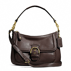 COACH CAMPBELL LEATHER SMALL CONVERTIBLE HOBO - BRASS/MAHOGANY - F24687
