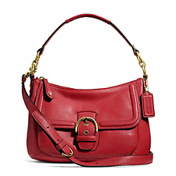 COACH CAMPBELL LEATHER SMALL CONVERTIBLE HOBO - BRASS/CORAL RED - F24687