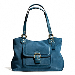 COACH CAMPBELL SUEDE BELLE CARRYALL - BRASS/TEAL - F24688