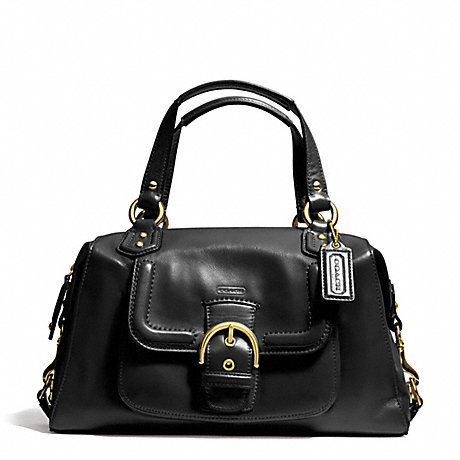 COACH f24690 CAMPBELL LEATHER SATCHEL BRASS/BLACK