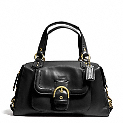 CAMPBELL LEATHER SATCHEL - f24690 - BRASS/BLACK