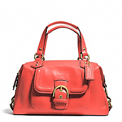 CAMPBELL LEATHER SATCHEL - f24690 - BRASS/HOT ORANGE